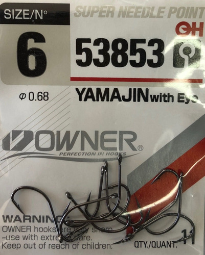 anzuelo owner yamajin 53853 big eje boga carpa lisa 6 al 5/0