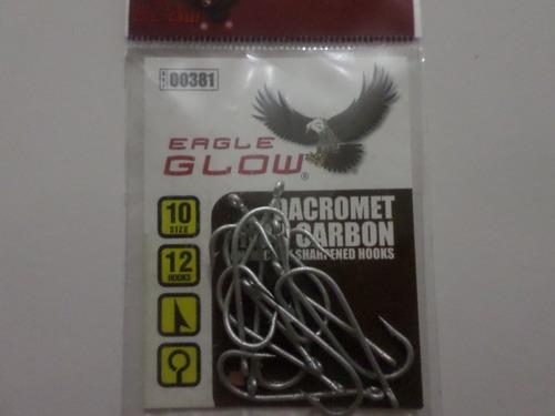 anzuelo pesca #10 carbono eagle glow dacromet paq 12un