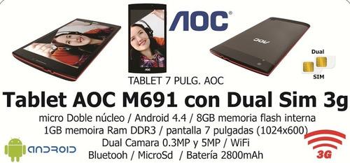 aoc m691 dc1.3ghz android 4.4 1gb ram 8gb 7  3g wifi+bt