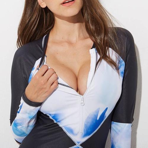 aoinua  traje de baño entero manga larga importado azul