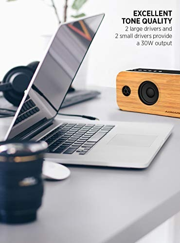 AOMAIS Life 30W Bluetooth Speakers Loud Bamboo Wood Home Audio Wireless Speaker
