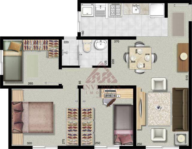 ap. 76,00m² c/ 3 quartos à venda, sendo 58,00m² de área de vassoura ( privativa ) - bairro rio pequeno - são josé dos pinhais/pr - ap0647
