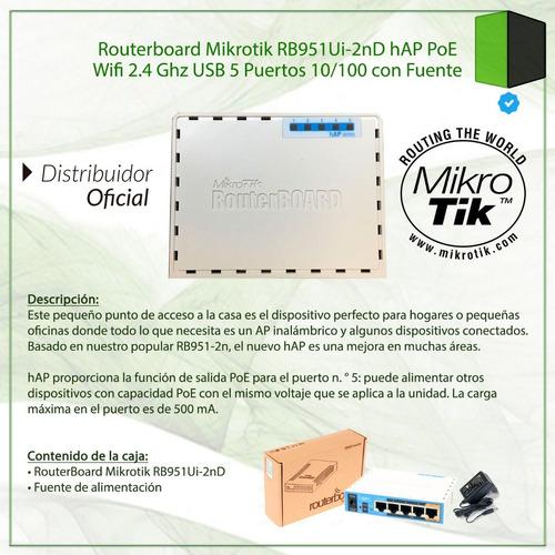 ap router mikrotik rb951ui-2nd hap poe wifi n usb con fuente