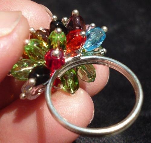 ap123 anillo de plata tailandesa con cristales de colores