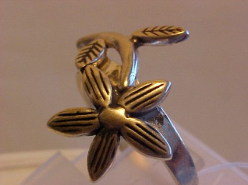 @@ap124693n - anel flor no galho em prata