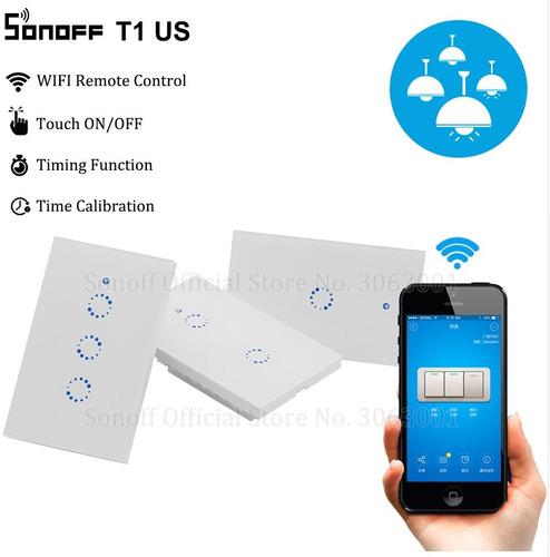 apagador de pared 3 circuitos touch y wifi - sonoff touch
