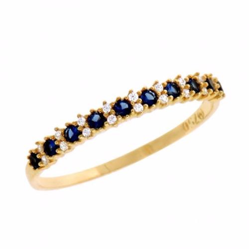 7788af60a0465 Anel De Ouro 18k Aparador Meia Aliança Com Diamante E Safira - R ...
