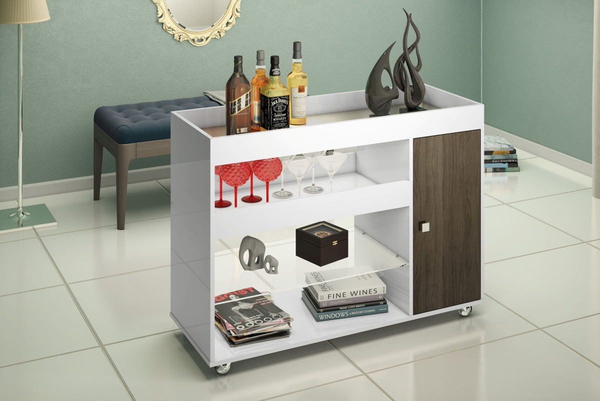 Armario Para Ropa Blanca Ikea ~ Aparador Bar Barzinho Adega Com Espelho 4021 Cor Branco teka R$ 303,90 em Mercado Livre
