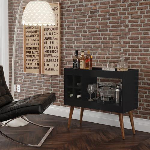 aparador bar com adega coffee break - preto - rpm móveis