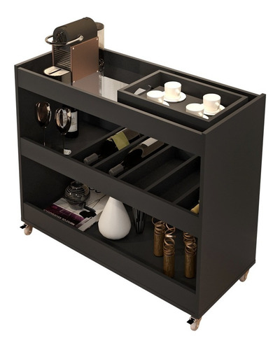 aparador bar com espelho e rodizios 4030 cor preto fosco