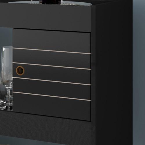 aparador bar cristal c/ adega 2 portas e rodizios - preto