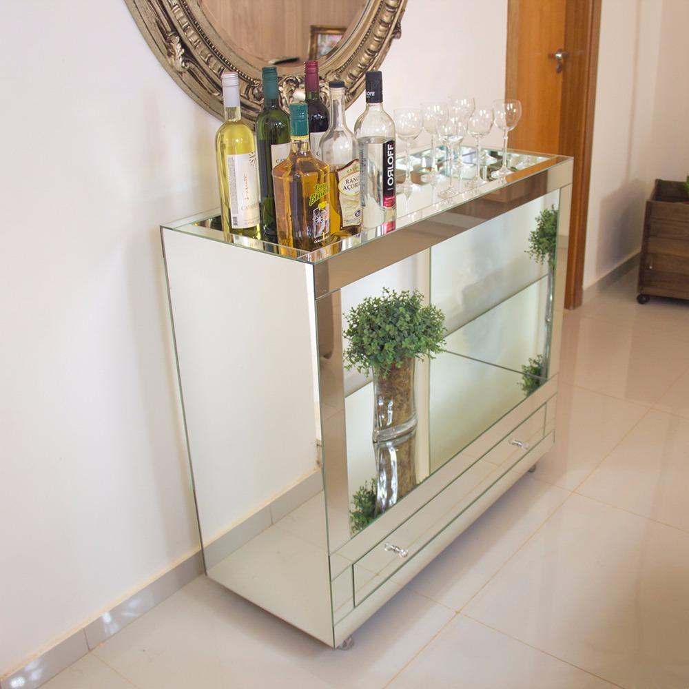 Aparador Bar Espelhado Lapidado Para Sala R 1 100 00 Em Mercado  -> Fotos De Aparador De Sala