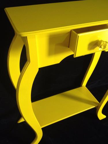 aparador com 1 gaveta em mdf pintura amarela