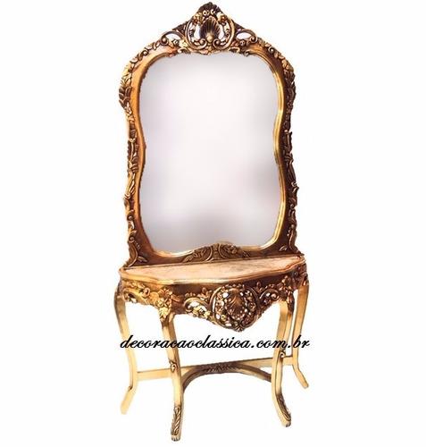 aparador com espelho luis xv folheado a ouro