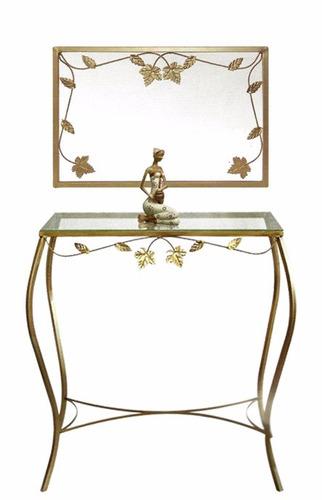 aparador e moldura de ferro com vidro e com espelho 70 cm