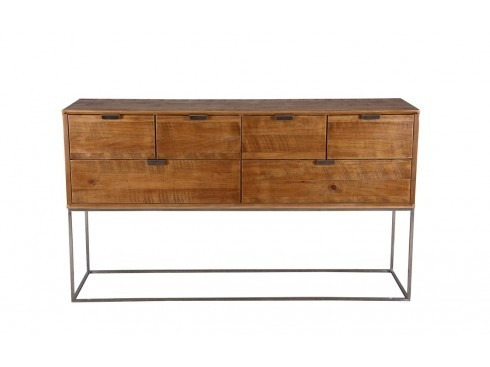 aparador madera con cajones base de acero inoxidable vintage