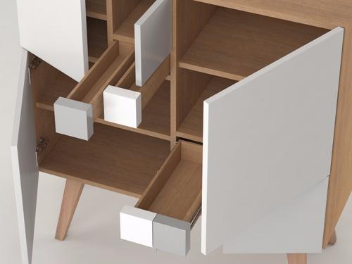 aparador nordico madera maciza y mdf laca fibonacci