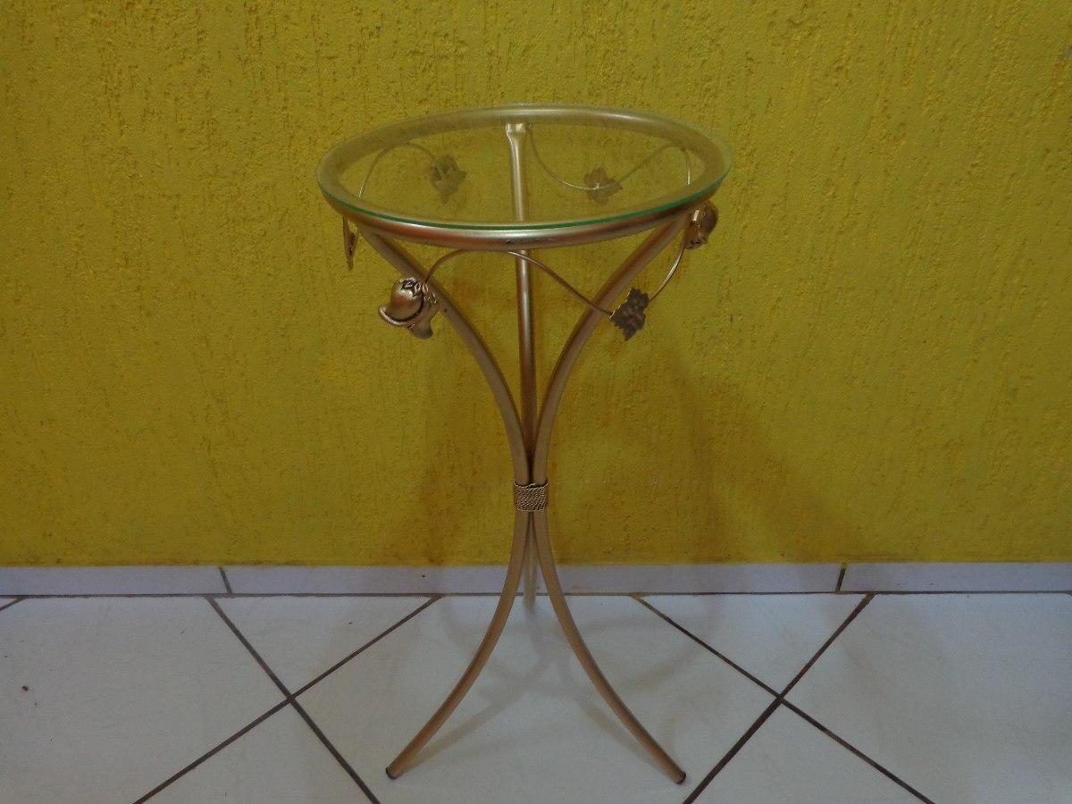 Aparador Redondo De Ferro Com Vidro Cor Ouro R$ 97,99 em Mercado Livre