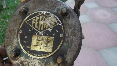 aparejo 500kg. marca ferro