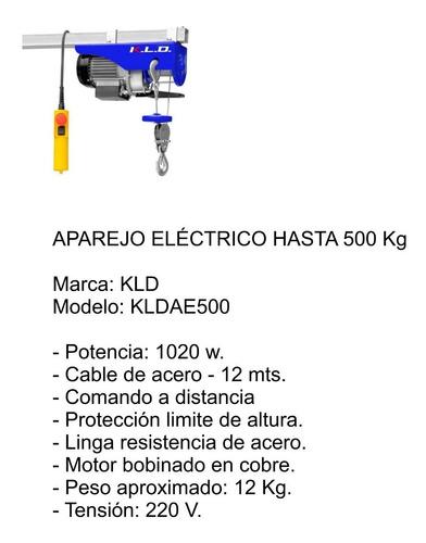 aparejo eléctricio kld 500k kldae500 1020w cable acero 12m