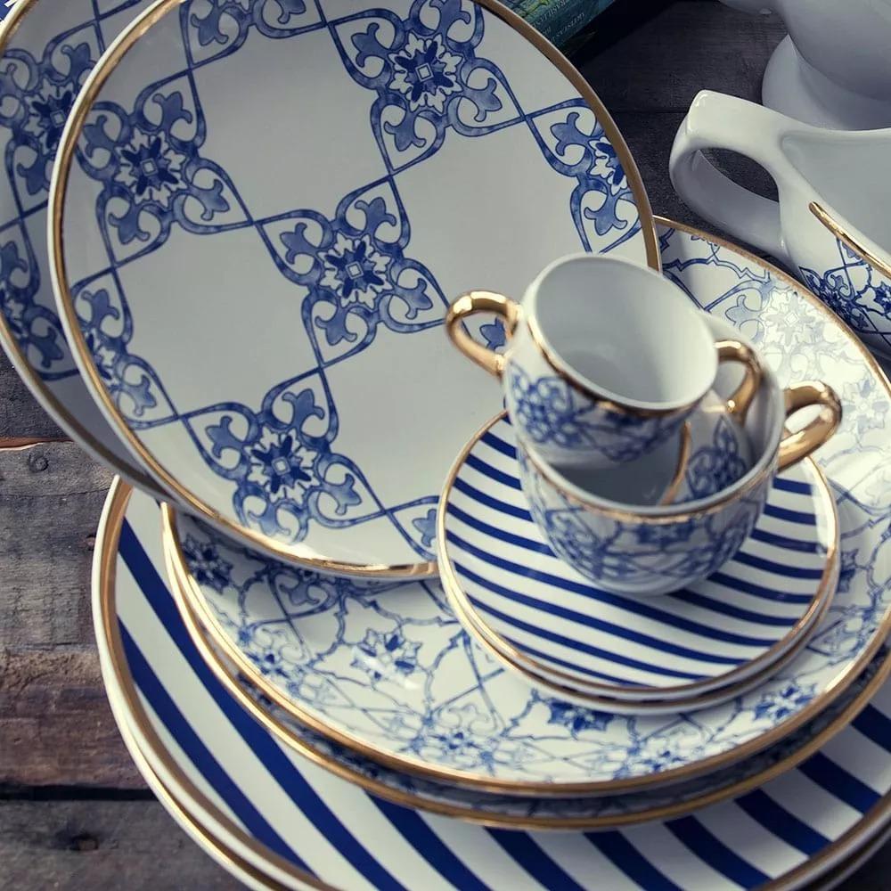 Aparelho De Jantar 42 Peças Porcelana Oxford Coup Lusitana R