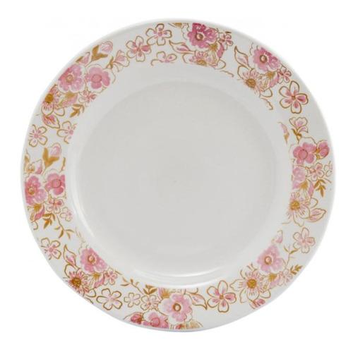 aparelho de jantar chá 30 peças biona -cerâmica redondo rosa