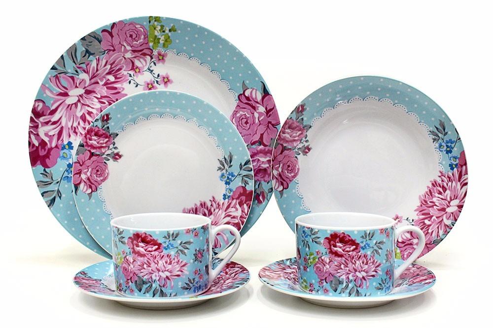 Aparelho De Jantar E Chá Maresias De Porcelana 20 Peças R 39980
