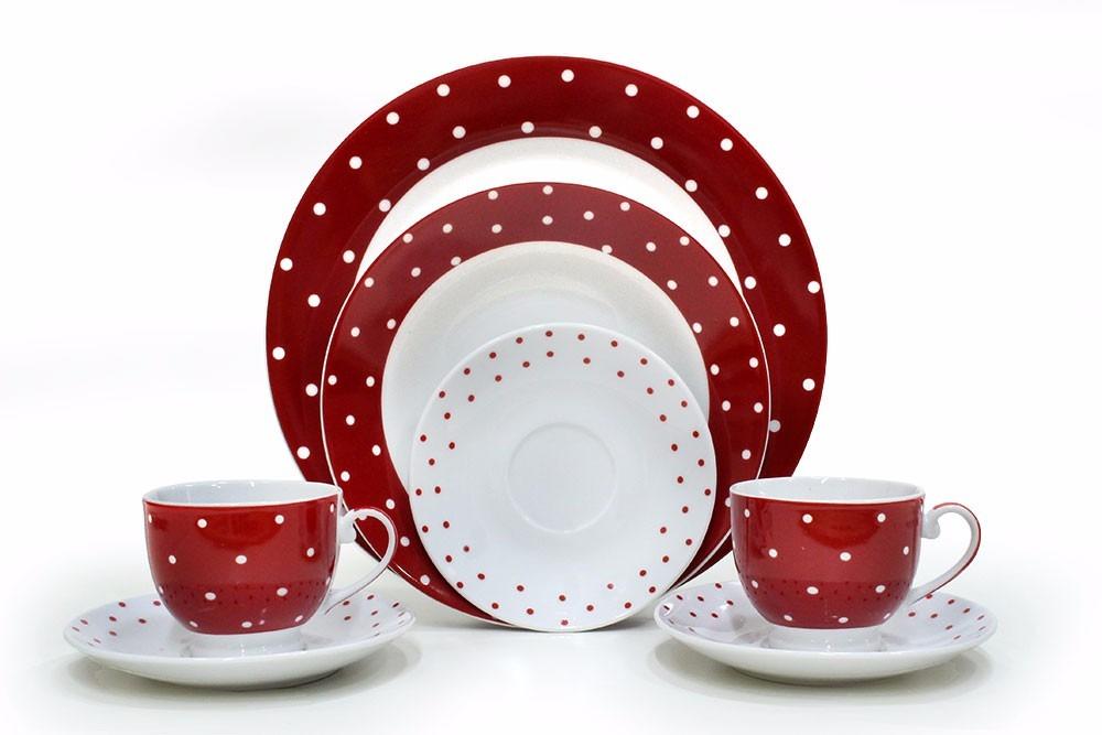 Aparelho De Jantar Porcelana Branco Vermelho 20 Peças R 39980 Em