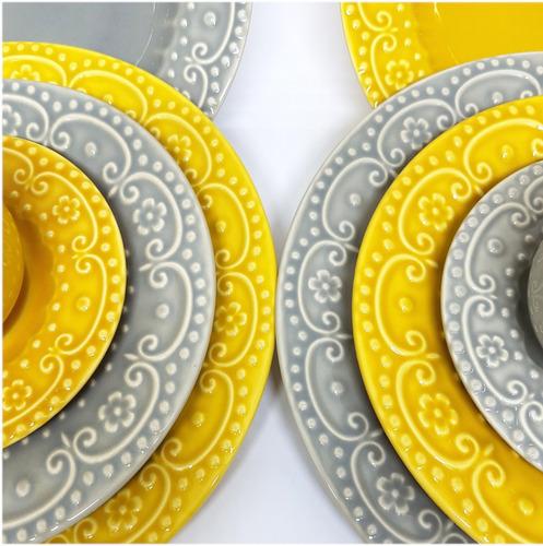 aparelho de jantar porto brasil esparta cinza mostarda 30 pc
