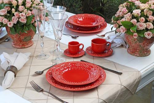 aparelho de jantar porto brasil esparta vermelho 42 peças
