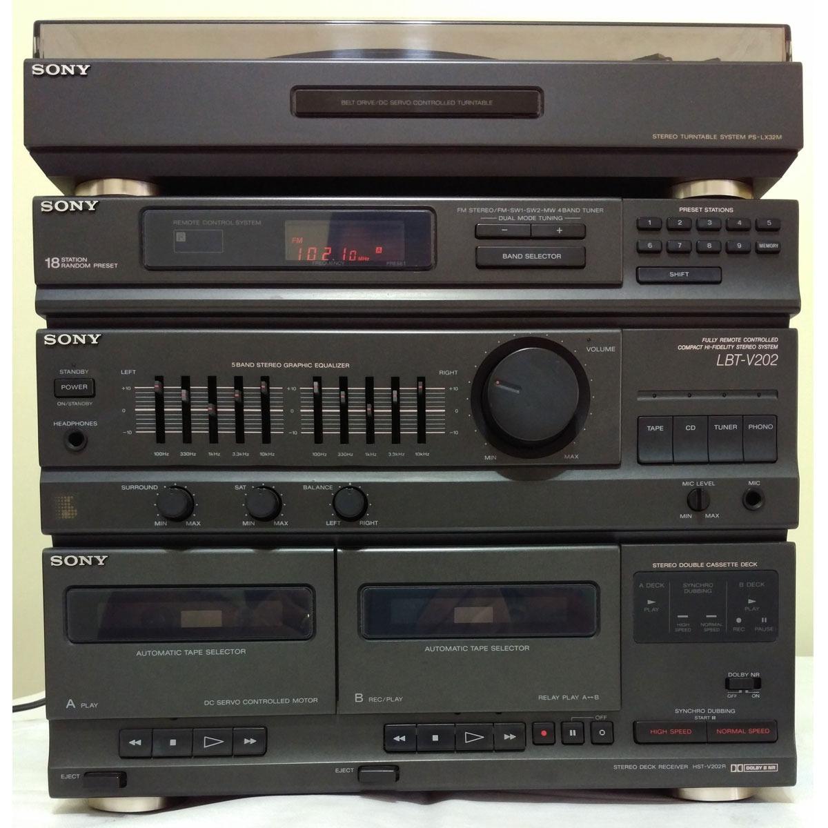 Aparelho De Som 3 Em 1 Sony Lbt V202 Vinil Duplo Deck