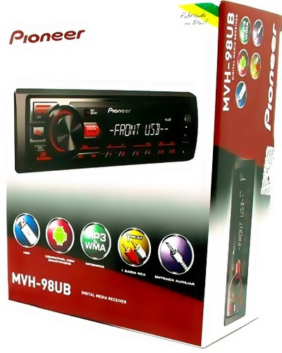 aparelho de som pioneer mvh-098ub 2017 - ubs/aux/radio/mp3