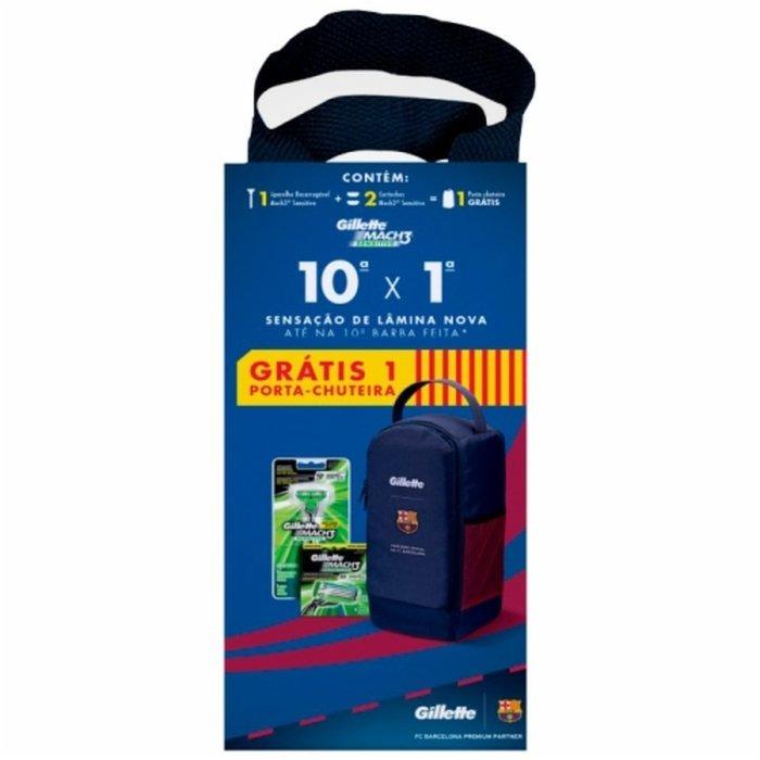 Aparelho Gillette Mach3 Sensitive+02 Cargas + Porta Chuteira - R  55 ... 305f50e014e23