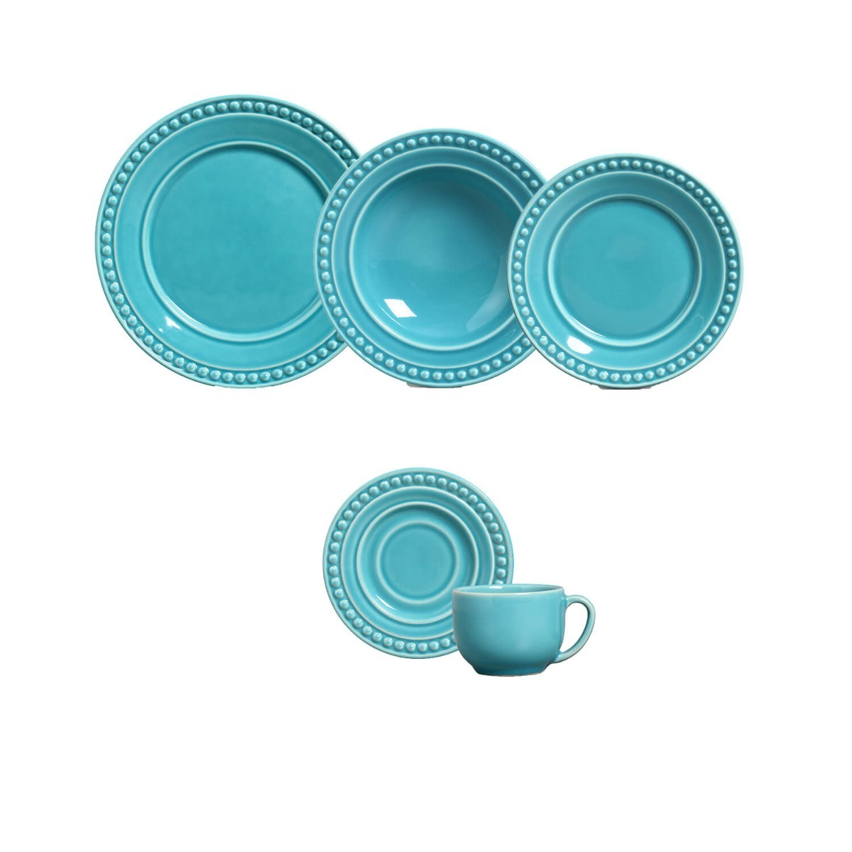 Aparelho De Jantar 30 Pecas Atenas Azul Poppy Porto Brasil R 556