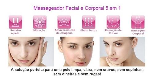 aparelho limpeza facial massageador elétrico portátil 5x1
