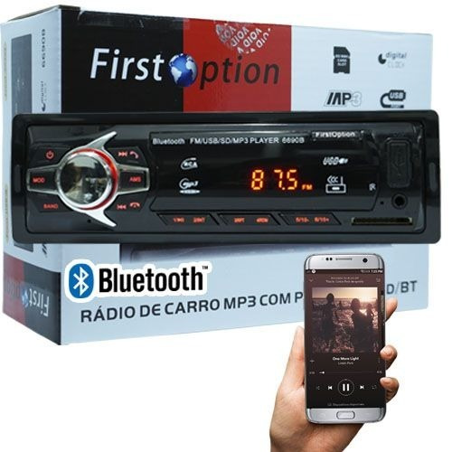aparelho mp3 carro som rádio com bluetooth controle usb sd
