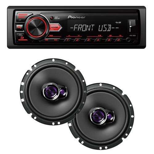 aparelho mp3 media receive radio fm usb + falante pioneer 06