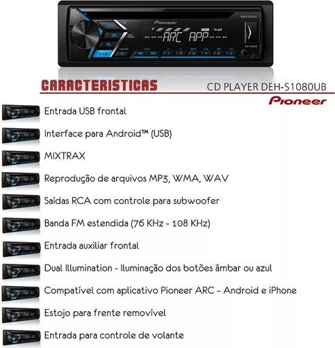aparelho pioneer deh-s1180ub + controle longa distância