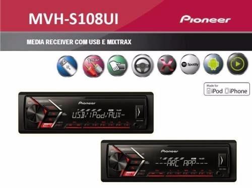 aparelho pioneer mvh-s108ui lançamento 2017 com usb/rca/mp3
