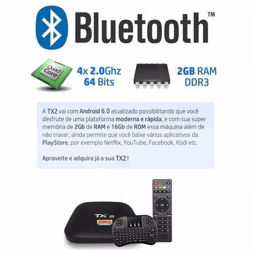 aparelho smart tv box tx2 4k 16gb 2gb ram bluetooth teclado