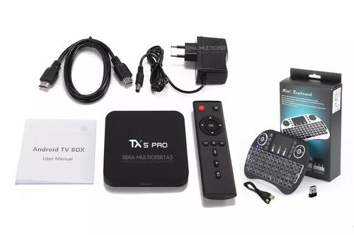 aparelho smart tv box tx5 pro 4k 16gb 2gb bluetooth teclado