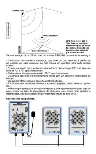 aparelho sonoro contra ratos e morcegos 150m² espanta zebu