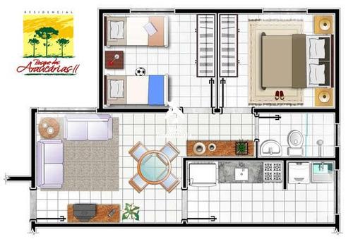 apartamento 02 dorm. residencial bosque das araucárias ii