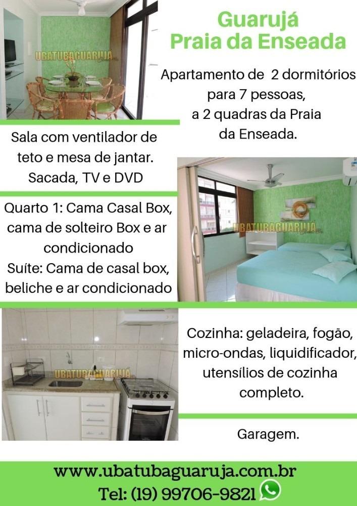 apartamento 02 dormitórios - 7 pessoas - praia da enseada