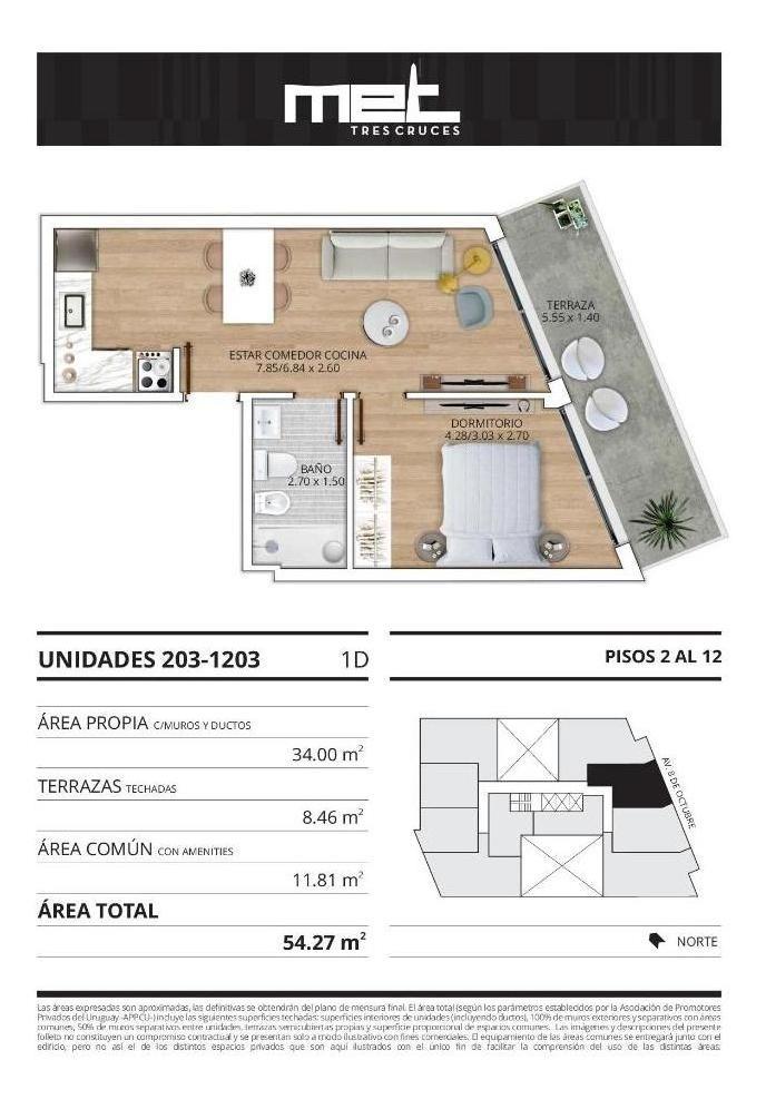 apartamento 1 dormitorio en venta en montevideo