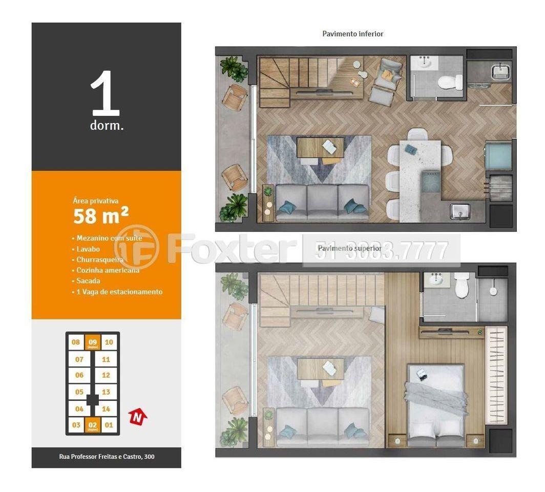 apartamento, 1 dormitórios, 44.8 m², azenha - 189189