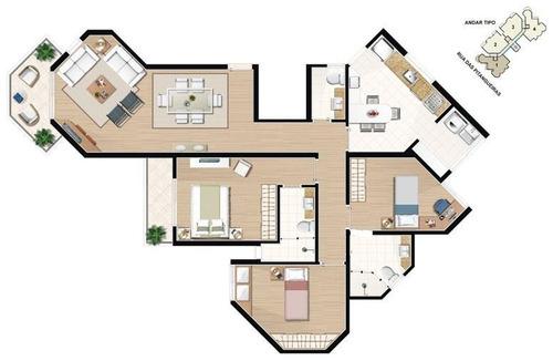 apartamento 116m² 3 dormitorios com 2 suítes, 3 vagas determinadas bairro jardim -santo andré - ap0412