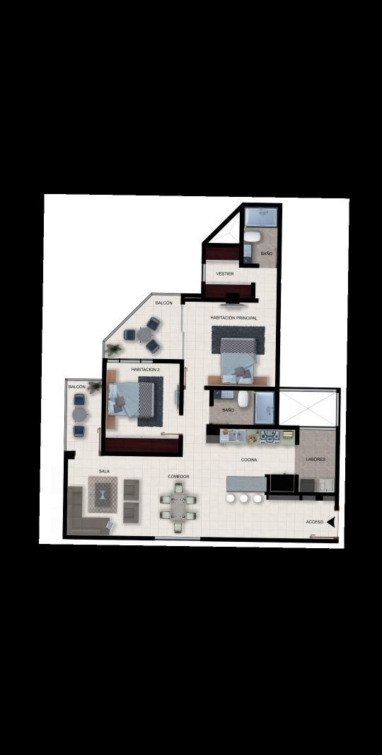 apartamento 2 confortables habitaciones