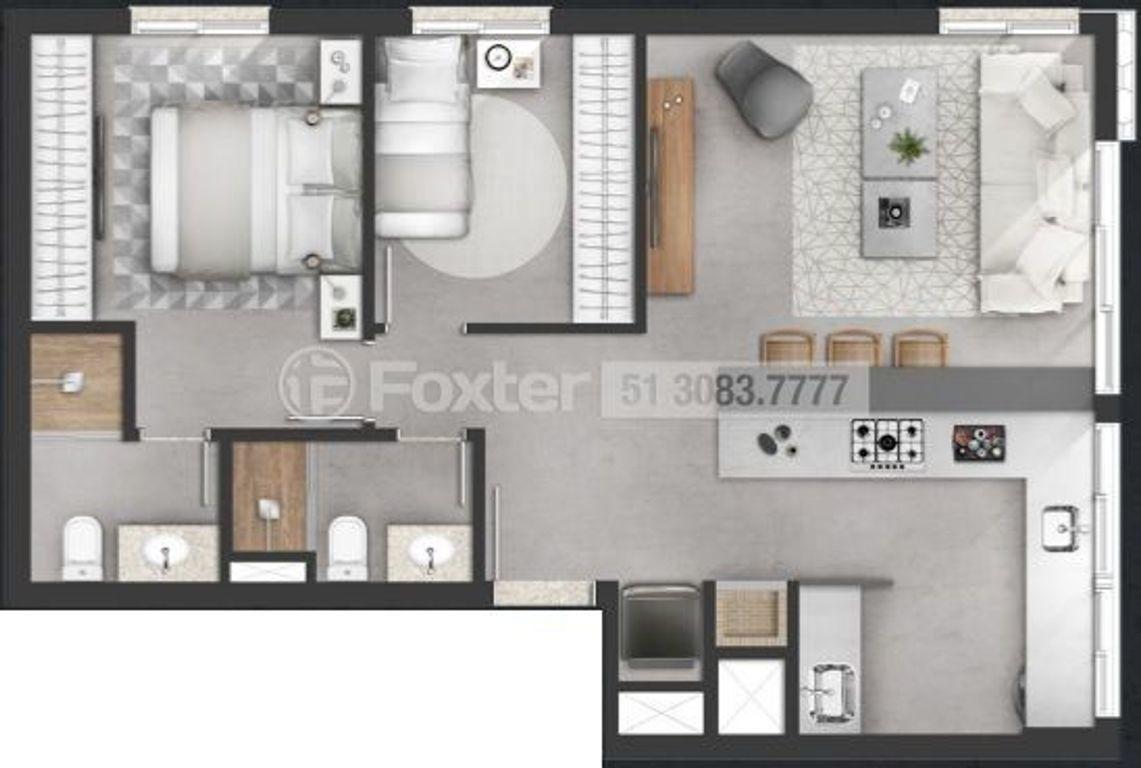 apartamento, 2 dormitórios, 65 m², moinhos de vento - 160049