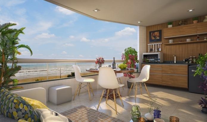 apartamento 2 dormitórios de frente a praia na praia grande